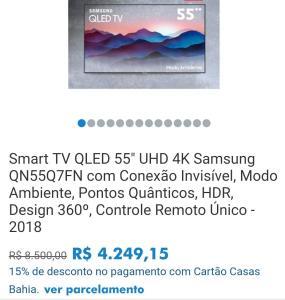 "(Cartão Casas Bahia) Smart TV QLED 55"" UHD 4K Samsung QN55Q7FN - R$ 4.249,15"
