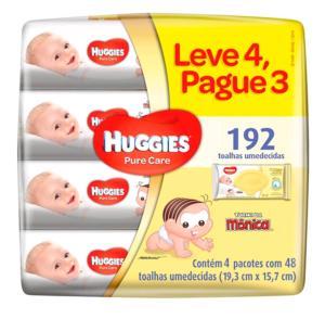 Kit Lenço Umedecido Huggies Pure Care 4 Unidades - R$30