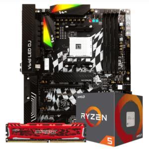 KIT PLACA MÃE BIOSTAR RACING X370GT7 RGB DDR4 + PROCESSADOR AMD RYZEN 5 2600X 3.6GHZ + MEMÓRIA DDR4 16GB - R$2189