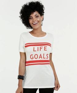 Blusa Feminina Estampa Frontal Life Goals (Tam. M e G) | R$16