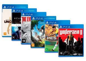 Kit com 6 jogos de PlayStation 4