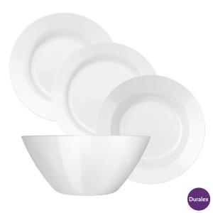 Aparelho de Jantar 16 Peças em Vidro Sodacal Menu Branco - Duralex - R$77