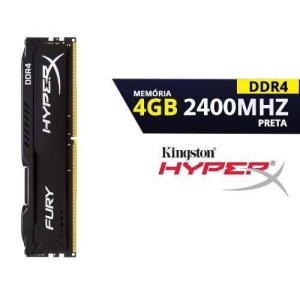 Memória Kingston HyperX FURY 4GB 2400Mhz DDR4 CL15 Black - HX424C15FB/4 | R$160