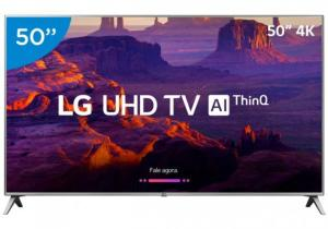 "Smart TV 4K LED 50"" LG 50UK6520 Wi-Fi HDR-Inteligência Artificial Conversor Digital 4 HDMI"