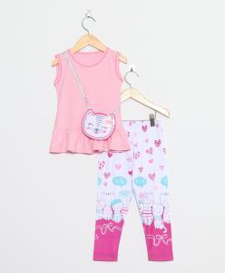 Conjunto Gatinha Infantil Rosa - AB&C Kids R$45