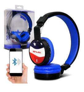 Fone de Ouvido Headphone Wireless Shutt EUA Sem Fio Bluetooth P2 SD Rádio FM MP3 Azul Escuro