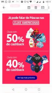 Lojas Físicas Americanas: Ovos com 40% e 50% de Cashback no AME e 100% de cashback em fraldas Huggies