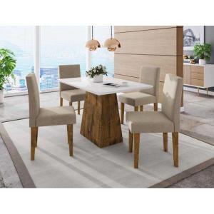 Conjunto Sala de Jantar Mesa Manuele 4 Cadeiras Giovana Siena Móveis Canela/Suede Bege por R$ 800