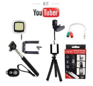 Kit Youtuber Básico 9x1 - Selfie, Controle Bluetooth, Tripé Flexivel, Microfone de Lapela, Flash - R$57