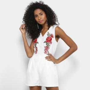 Macaquinho Heli Floral Bordado Feminino - Branco | R$32
