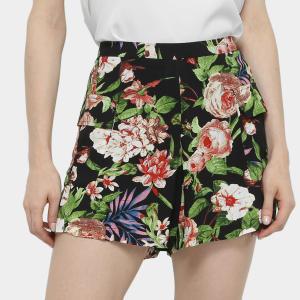 Shorts Holin Stone Estampado Cintura Média Feminino - Preto | R$29