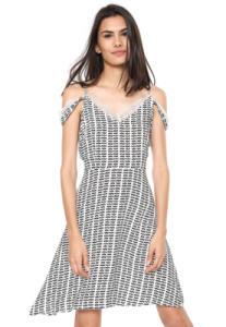 Vestido Ciganinha Fiya Lady Curto Renda - preto e branco | R$26