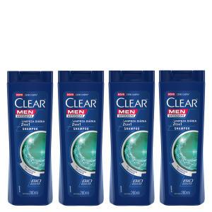 Kit Shampoo Anticaspa Clear Men Limpeza Diária 2 em 1 200ml 4 Unidades - Incolor - R$31