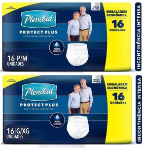 Roupa Íntima Plenitud, Proctect Plus, 16 unidades - G/XG   R$31