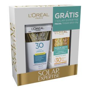 Protetor Solar L'oréal Solar Expertise FPS 30 Loção 120ml + Grátis Solar Expertise Facial Toque Seco 25g