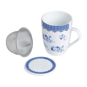 Conjunto Caneca com Tampa e Filtro de Porcelana Grécia 310Ml com Caixa de Presente Lyor Azul/ Branco | R$29