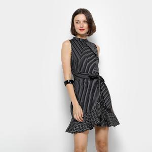 Vestido Colcci Evasê Curto Listrado - Preto e Branco (38) - R$ 300