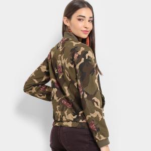 Jaqueta Lily Fashion Bomber Camuflada Floral Feminina - Verde Militar R$90