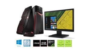 Kit: PC Gamer Acer GX-783-BR11 Corei5 8GB 1TB GeForce 1050Ti 4GB Win10 + Monitor Acer V246HQL 23.6'