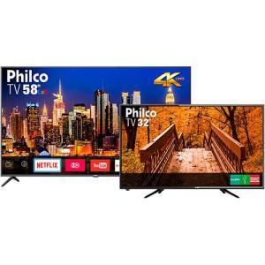 "[KIT 2 TVS - AME] Tv Ptv58f60sn 4k Led Smart 58 Polegadas Com Resolução Ultrahd 4k Cor Space Gray + Tv Led 32"" Philco  Hd Ptv32b51d - R$2886"