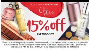 Sephora Chic Week 15% OFF (Promoção exclusiva Beauty Club)