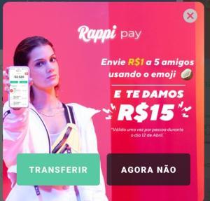 Envie R$1 para 5 amigos e receba R$15 de saldo de Rappi Pay