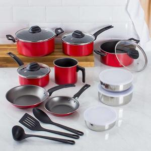 Conjunto de Panelas Antiaderente Vermelho 10 Peças + Cj Potes 3 Pçs - La Cuisine - R$179