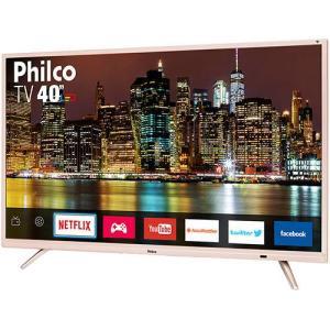 """Smart TV LED 40"""" Philco Ptv40e60snc Full HD com Conversor Digital 2 HDMI 2 USB Wi-Fi Closed Caption - Champanhe"""