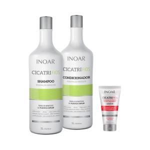 Kit Inoar Cicatrifios Shampoo + Condicionador 1000ml Grátis Leave-in Pós Química 50ml - R$40