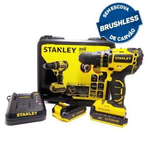 Parafusadeira/Furadeira 1/2 Pol. 13mm Brushless com 2 Baterias 20V 1,5Ah Lition, Maleta + Carregador Bivolt - STANLEY-SBD20S2K-BR | R$808