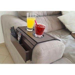 Bandeja Esteira de Madeira para braço de sofá Com porta controle