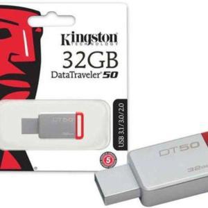 [R$19,82 com AME]  Pen Drive Usb 3.1 Kingston Dt50/32gb Datatraveler 50 32gb Metal Vermelho