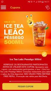 500ml grátis Chá Pêssego (Clientes Selecionados)