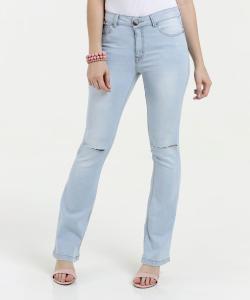 Calça Feminina Jeans Flare Rasgos Five | R$54