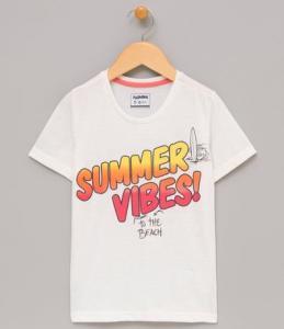 Camiseta infantil com estampa summer vibes | R$10