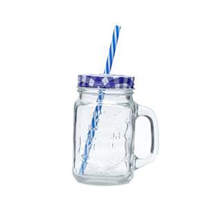 Caneca de Vidro com Tampa e Canudo Party Lyor Transparente/ Azul 425Ml | R$9