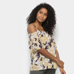 Blusa Lily Fashion Estampada Ciganinha Feminina - Mostarda | R$29