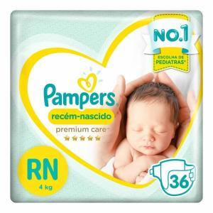 Fraldas Pampers Premium Care Recém Nascido RN+ 36 Unidades - R$23
