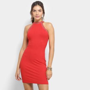 Vestido Colcci Tubinho Curto Canelado - Vermelho (M e G) - R$ 88