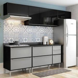 Cozinha Compacta 5 Peças 2826 Miami – Multimóveis - Preto / Cinza por R$ 895