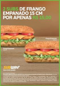 [ES e MG] 2 Subs de frango empanado 15cm R$15