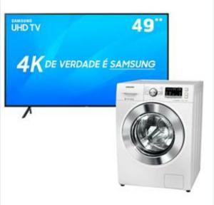 "Smart TV LED 49"" UHD 4K Samsung 49NU7100 + Lava e Seca Samsung WD4000 - 11Kg R$4198"