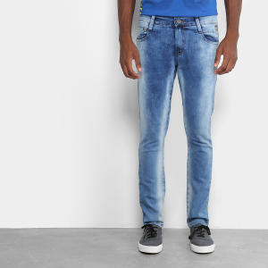 Calça jeans estonada azul claro