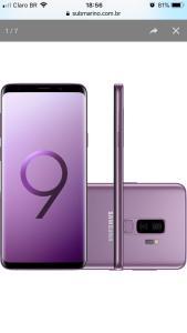 "Smartphone Samsung Galaxy S9+ Desbloqueado Tim 128GB Dual Chip Android 8.0 Tela 6.2"" Octa-Core 2.8GHz 4G Câmera 12MP - Ultravioleta R$R$ 2.595"