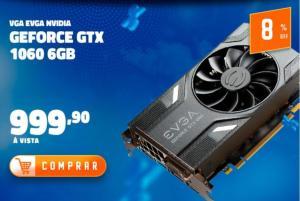 Placa de Vídeo EVGA NVIDIA GeForce GTX 1060 Gaming 6GB, GDDR5 - 06G-P4-6161-KR por R$ 1000