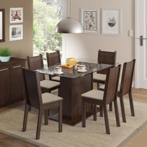 Conjunto Sala de Jantar Gales Madesa Mesa com 6 Cadeiras | R$640
