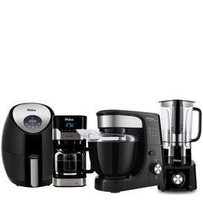 Kit Philco Cozinha Black | Liquidificador + Batedeira + Cafeteira + Air Fryer - R$756