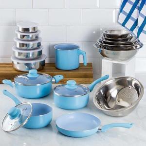 [APP Shoptime] Conjunto Panelas Everyday Azul 5 Peças + Kit Inox 11 Peças - La Cuisine | R$195