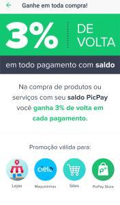 3% de volta em cada pagamento com saldo no PicPay