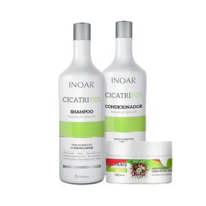 Kit Inoar Shampoo + Condicionador Cicatrifios 1000ml Grátis Máscara Coconut 250g - R$35